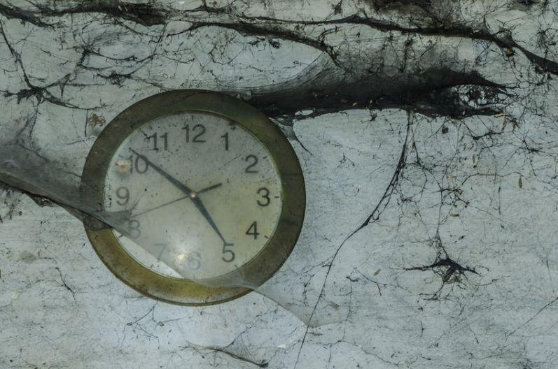 wall clock and cobwebs